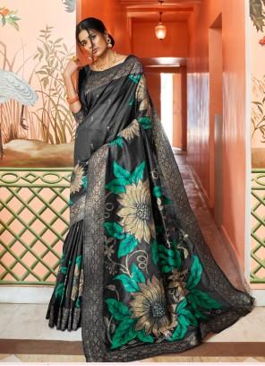Art Silk Black Woven Designer Traditional Saree