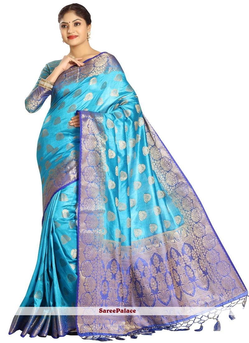 Art Silk Blue and Firozi Designer Traditional Saree