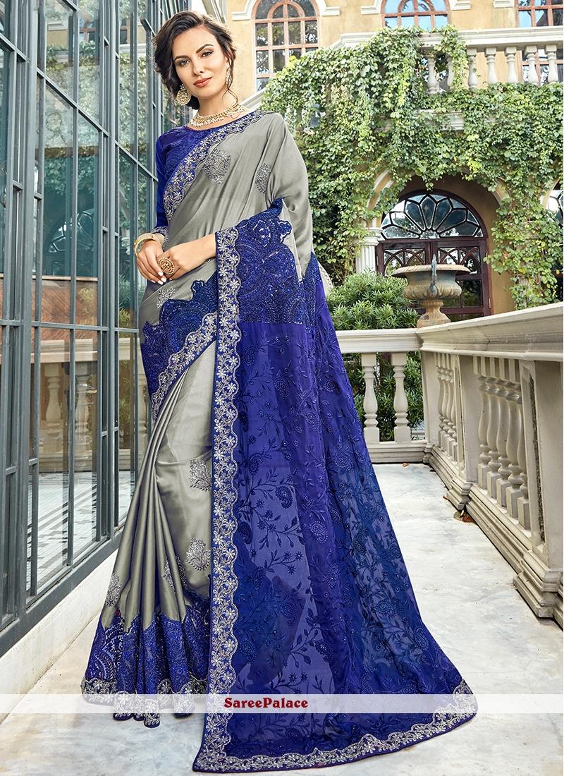 Art Silk Blue and Grey Resham Traditional Designer Saree