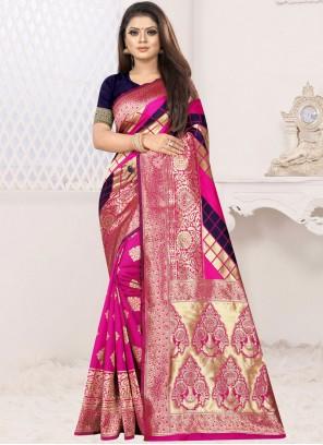 Art Silk Blue and Hot Pink Weaving Designer Half N Half Saree