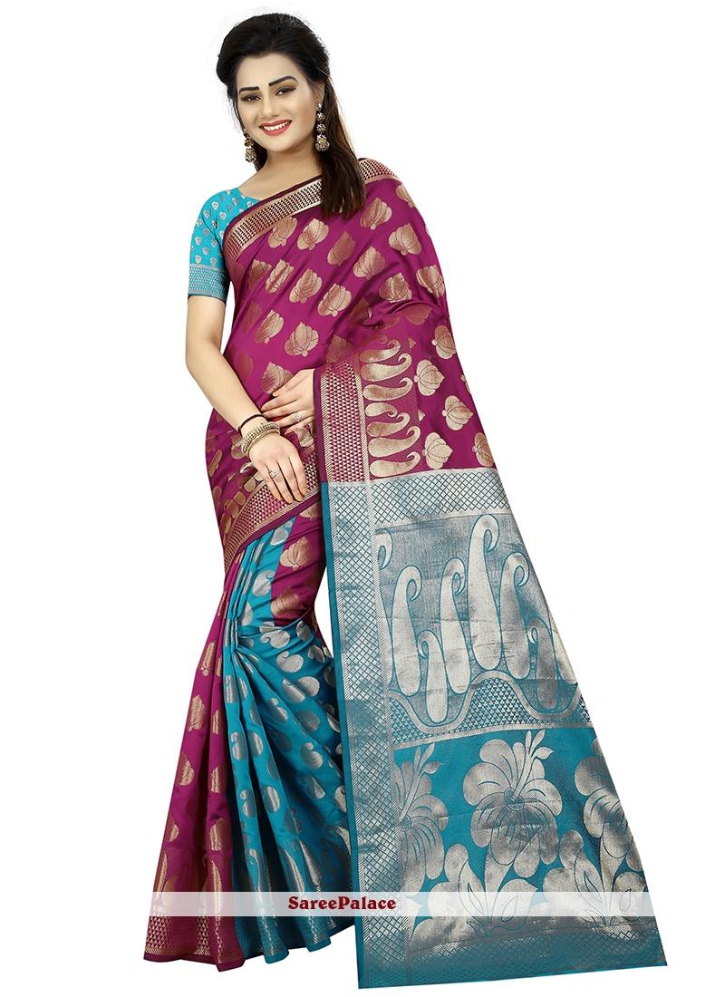 Art Silk Blue and Purple Weaving Traditional Designer Saree