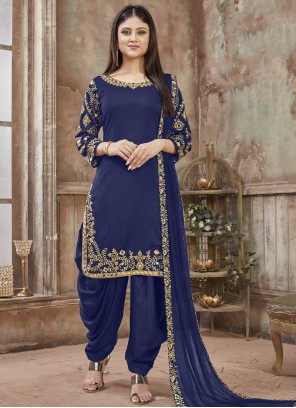 Art Silk Blue Designer Patiala Salwar Kameez