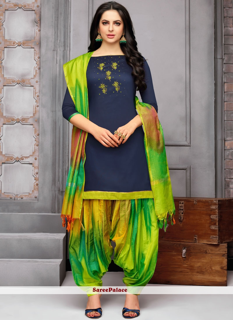 49d8f0881b Buy Art Silk Blue Designer Patiala Suit Online