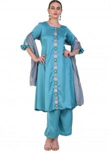 Art Silk Blue Designer Salwar Suit