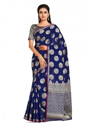 Art Silk Blue Designer Traditional Saree
