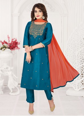 Art Silk Blue Embroidered Bollywood Salwar Kameez