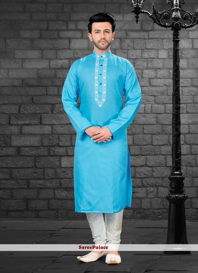 Art Silk Blue Embroidered Kurta Pyjama