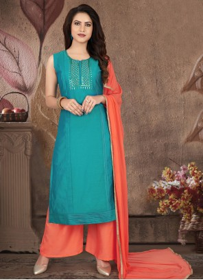 Art Silk Blue Embroidered Readymade Suit