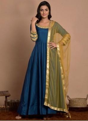Art Silk Blue Fancy Anarkali Salwar Kameez