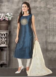 Art Silk Blue Fancy Readymade Suit
