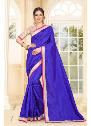Art Silk Blue Patch Border Classic Designer Saree