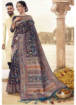 Art Silk Blue Printed Saree