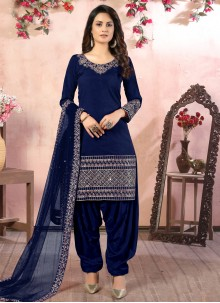 Art Silk Blue Resham Designer Patiala Suit