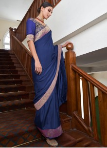 Art Silk Blue Traditional Saree