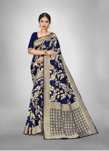 Art Silk Weaving Zari Blue Trendy Saree