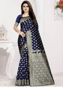 Art Silk Blue Weaving Designer Traditional Saree