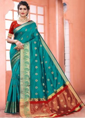 Art Silk Blue Woven Traditional Designer Saree