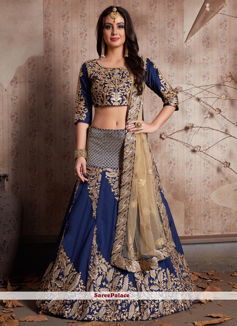 Art Silk Blue Zari Work Lehenga Choli
