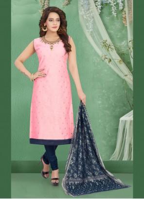 Art Silk Bollywood Salwar Kameez in Pink