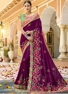 Wine Art Silk Bridal Designer Traditional Saree