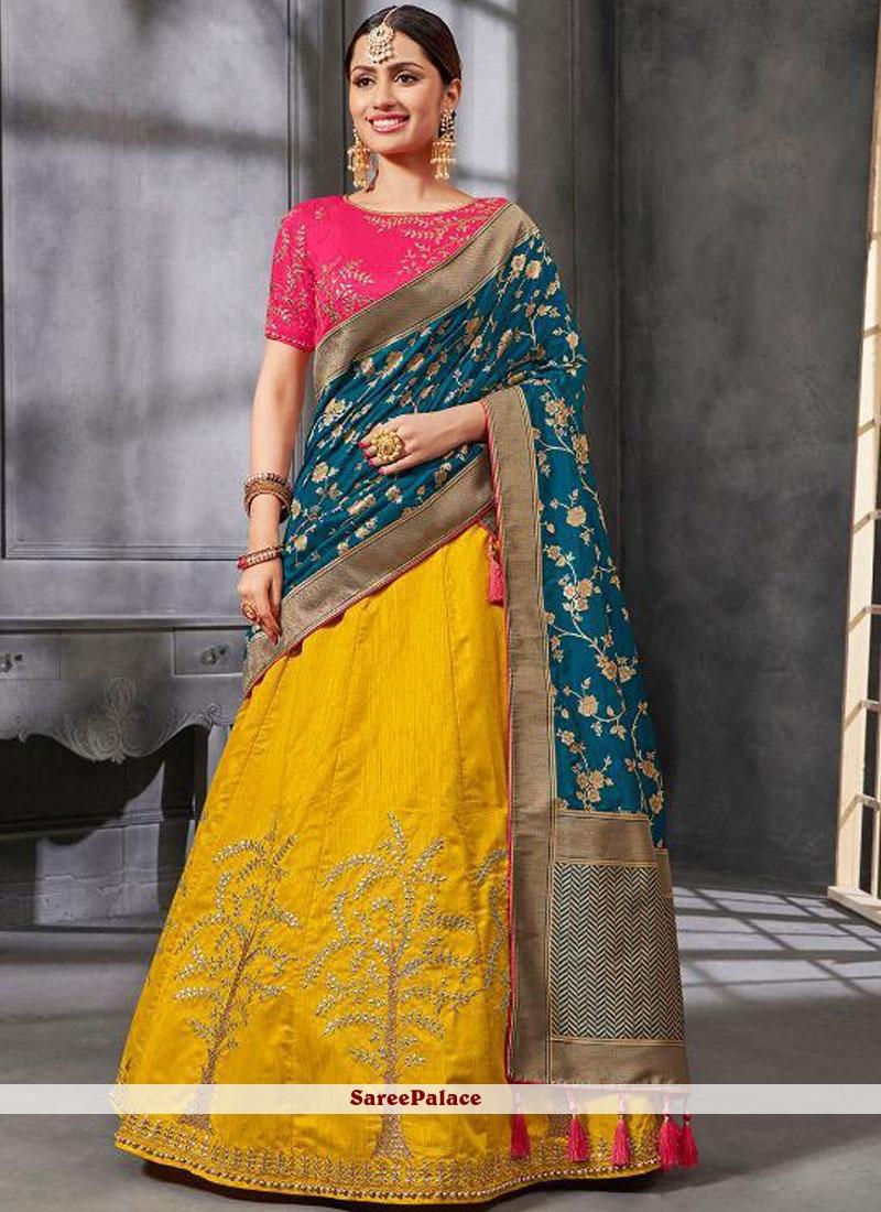 816657eb5d Buy Yellow Art Silk Bridal Lehenga Choli Online
