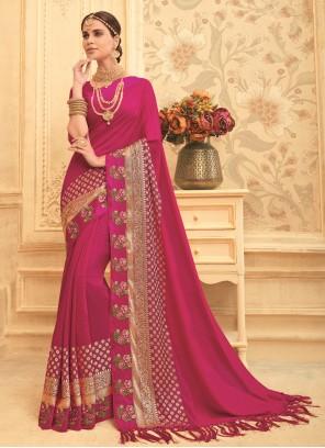 Art Silk Bridal Magenta Traditional Saree