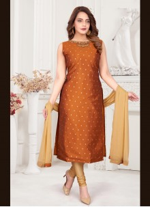 Art Silk Brown Readymade Suit
