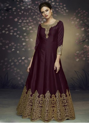 Art Silk Brown Thread Salwar Suit