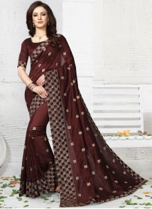Art Silk Brown Traditional Designer Saree