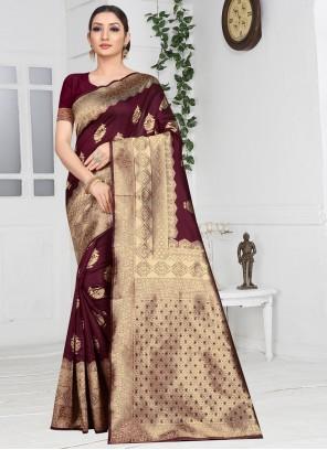 Art Silk Brown Weaving Classic Saree