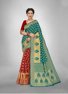 Rama And Red Art Silk Casual Half N Half  Saree
