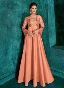Art Silk Ceremonial Readymade Gown