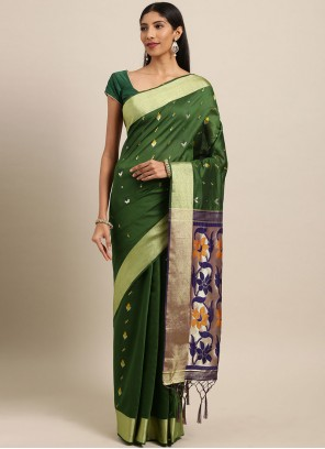 Green Art Silk Ceremonial Traditional Designer Saree