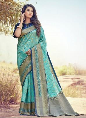 Blue Art Silk Ceremonial Traditional Designer Saree