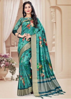 Sea Green Art Silk Ceremonial Trendy Saree