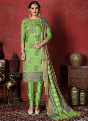 Art Silk Churidar Designer Suit