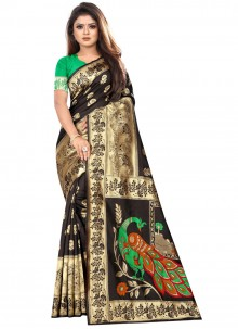 Art Silk Classic Designer Saree in Black