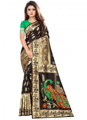 Art Silk Classic Designer Saree in Black
