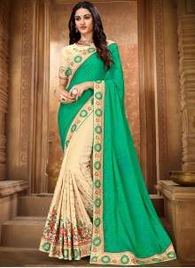 Art Silk Classic Designer Saree in Cream and Green