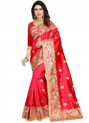Art Silk Classic Designer Saree in Red