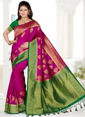 Art Silk Hot Pink Classic Saree