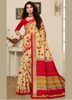Beige Art Silk Foliage Prints Classic Saree