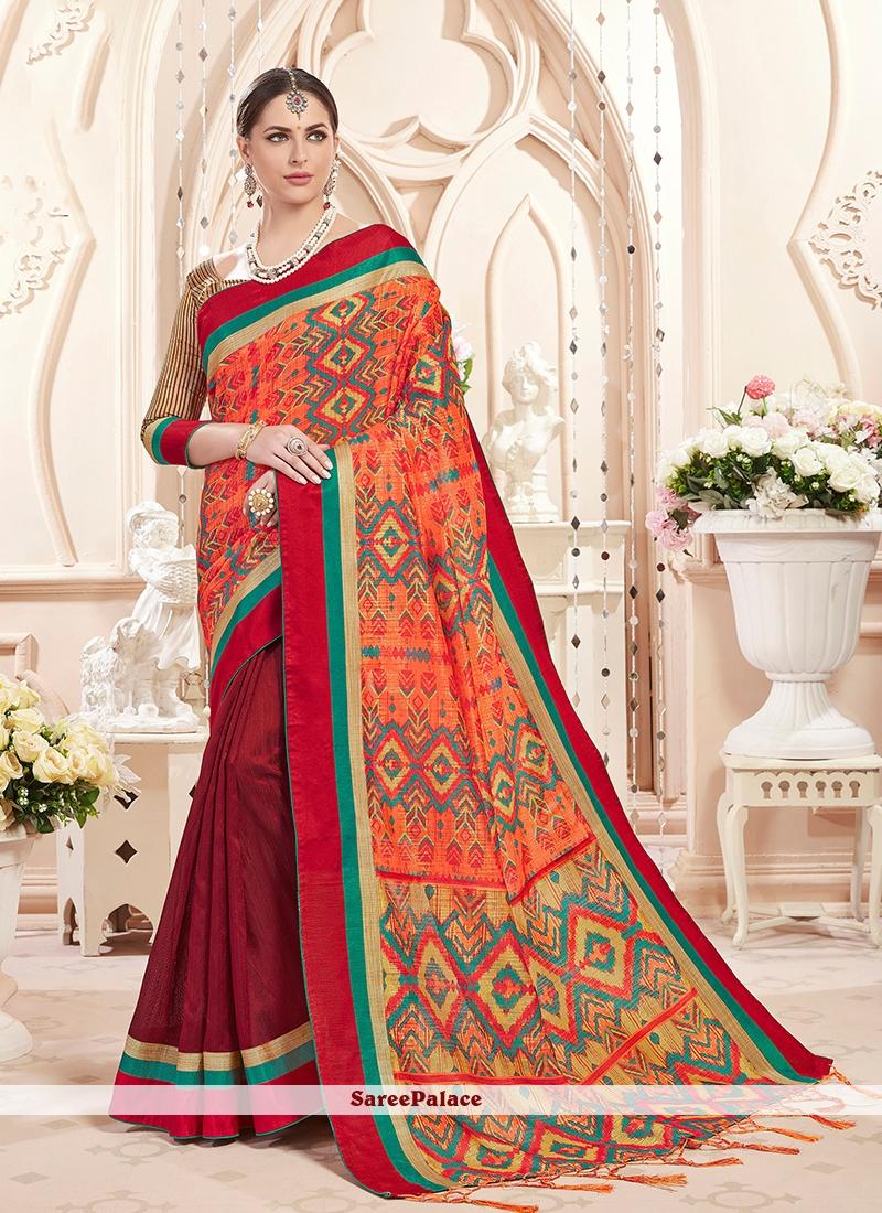 Art Silk Classic Saree in Maroon and Orange