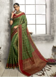 Art Silk Classic Saree in Multi Colour