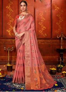 Art Silk Classic Saree in Pink