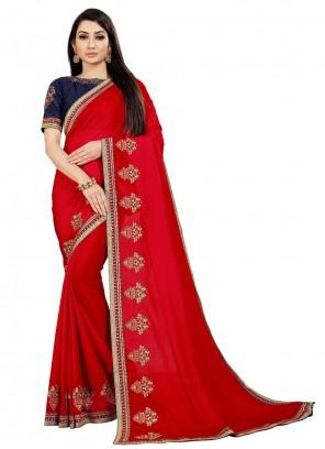 Art Silk Classic Saree in Red