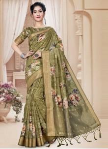 Green Floral Printed Art Silk Contemporary Saree