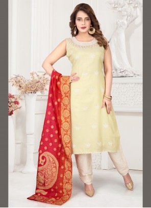 Art Silk Cream Embroidered Readymade Suit