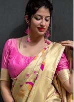Art Silk Cream Traditional Designer Saree