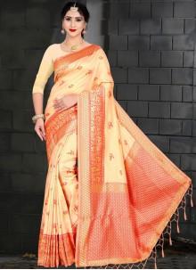 Art Silk Cream Weaving Traditional Saree